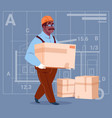 cartoon african american builder carry box wearing vector image vector image