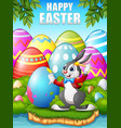 cartoon easter bunny painting easter eggs in the w vector image vector image