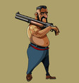 cartoon man walking with a gun on his shoulder vector image vector image