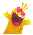 cartoon yellow blob monster in love vector image vector image