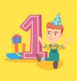 caucasian boy celebrating first birthday vector image vector image