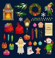 christmas gifts xmas tree wreath santa bag icons vector image