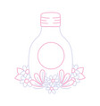 color line mason glass with flowers and leves vector image vector image