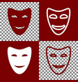 comedy theatrical masks bordo and white vector image