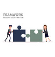 concept of teamwork businessman and businesswoman vector image vector image