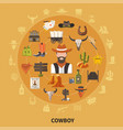 cowboy round composition vector image