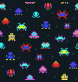 cute pixel robots space invaders retro video vector image vector image