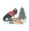 cute yound t rex dinosaur decorating christmas vector image
