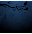 Dark blue background with tree branch and birds vector image vector image