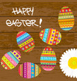 easter card with painted easter eggs vector image