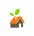 eco green leaf house nature environment logo vector image vector image