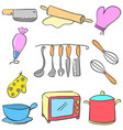 equipment kitchen set colorful doodles vector image vector image