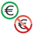 Euro permission signs set vector image vector image