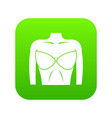 female breast in a bra icon digital green vector image