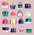 Flat icons set of fashion bags vector image vector image