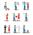 flat set of people in various stressed vector image vector image