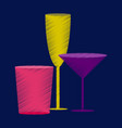 flat shading style icon cocktail glasses vector image