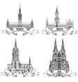 german city travel attraction set hamburg munich vector image vector image