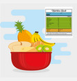 group of nutritive food with nutrition facts vector image vector image