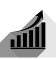 growing graph sign black icon with two vector image vector image