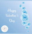 happy valentines day greeting card with blue rose vector image vector image