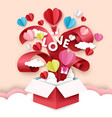 happy valentines day open love gift box with vector image vector image