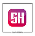initial letter sh logo template design vector image