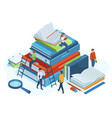 isometric books concept reading people on huge 3d vector image