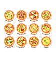 italian pizza traditional delicious food with vector image