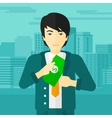 Man putting money in pocket vector image