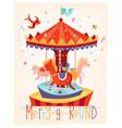 merry go round carousel fun fair festival poster vector image vector image