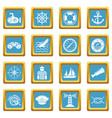 nautical icons set sapphirine square vector image vector image