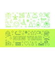 new year outline green modern vector image vector image