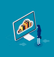 person interact with digital books isometric vector image