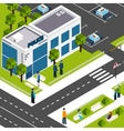 Police department station isometric poster vector image