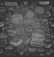 seamless pattern with different fast food vector image vector image