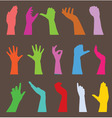 set of hand silhouettes vector image