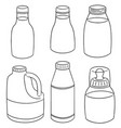 set of milk bottle vector image