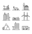 set of thin line icons for travel and city vector image