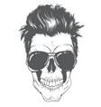 skull with modern hairstyle and sunglasses vector image