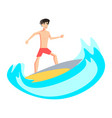 surfer character in with surfboard standing and vector image