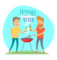 two man fried meat on barbecue friends forever vector image