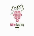wine grape logo wine tasting label on white vector image vector image