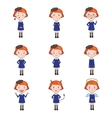 Set of Emotions Character in Flat Style vector image