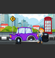 accident scene with mechanic fixing flat tyre vector image vector image
