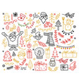 big set of christmas design element in doodle vector image vector image