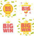 big win banner set vector image vector image