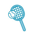 blue tennis racket and ball cartoon vector image vector image