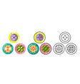 button craft tool stud sew cloth flat design vector image