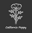 california poppy chalk icon papaver rhoeas vector image